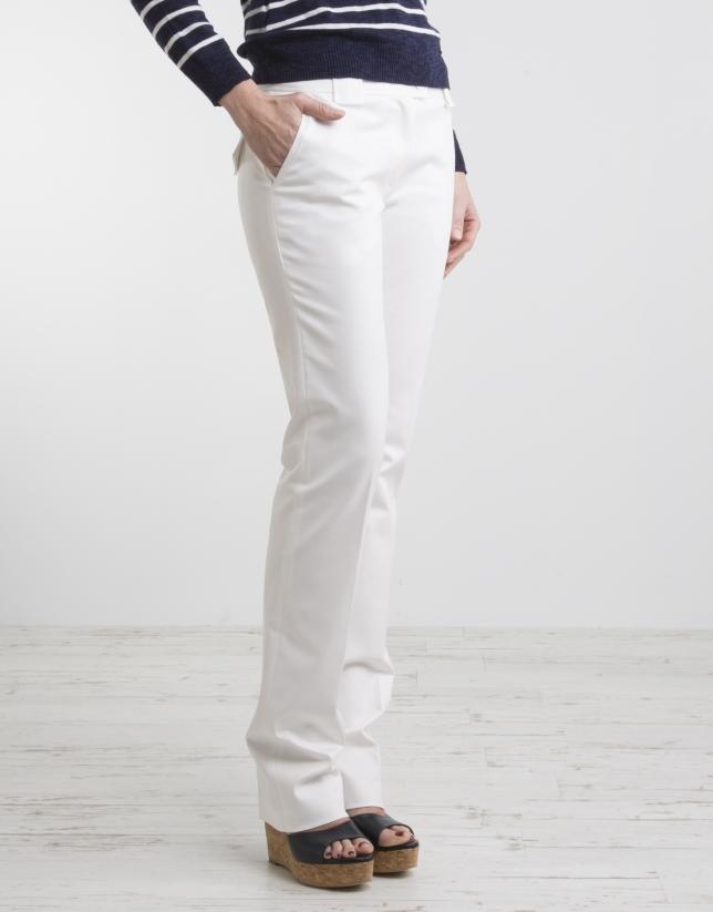 Pantalón recto blanco crudo