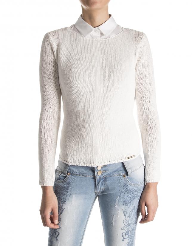 Jersey liso blanco roto
