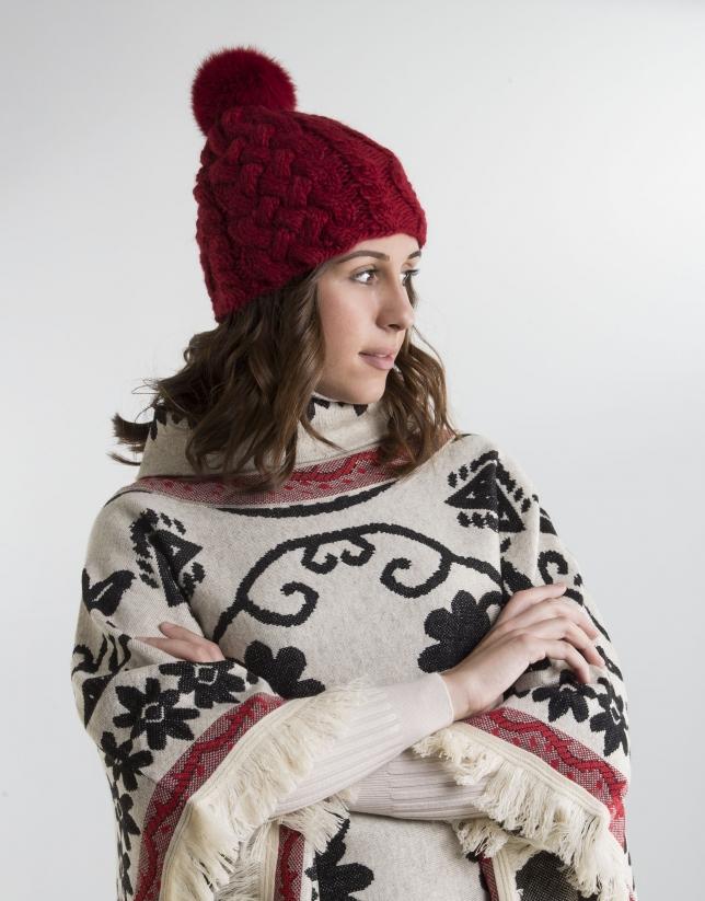 Gorro lana pompon rojo