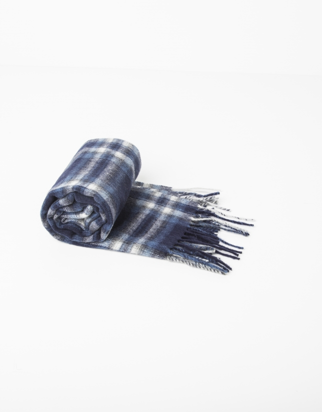 Blue checked wool scarf