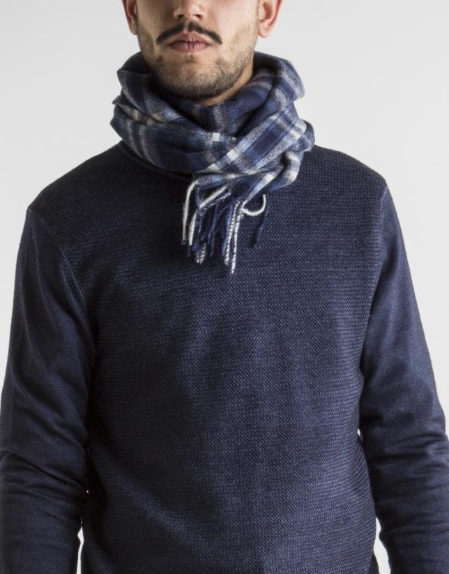Bufanda lana cuadros azul