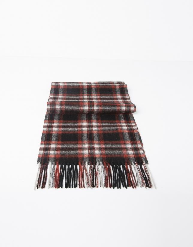 Bufanda lana cuadros roja