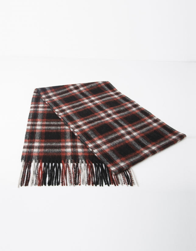 Red checked wool scarf
