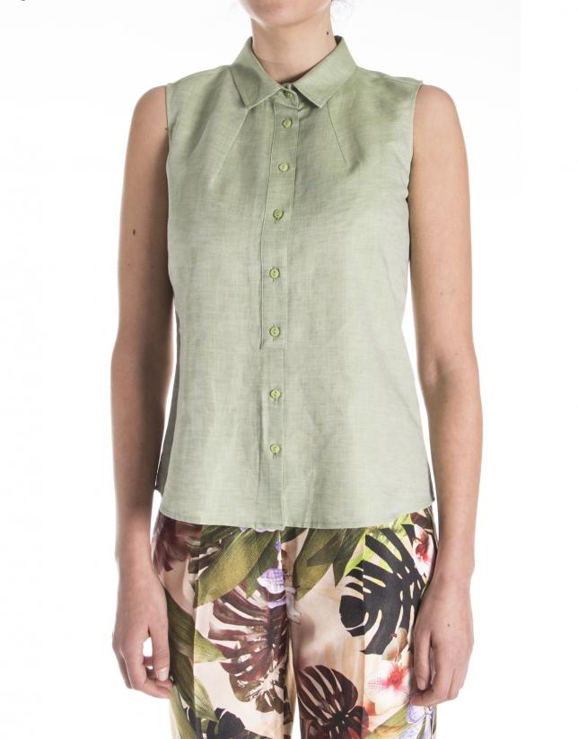 Camisa sin mangas verde