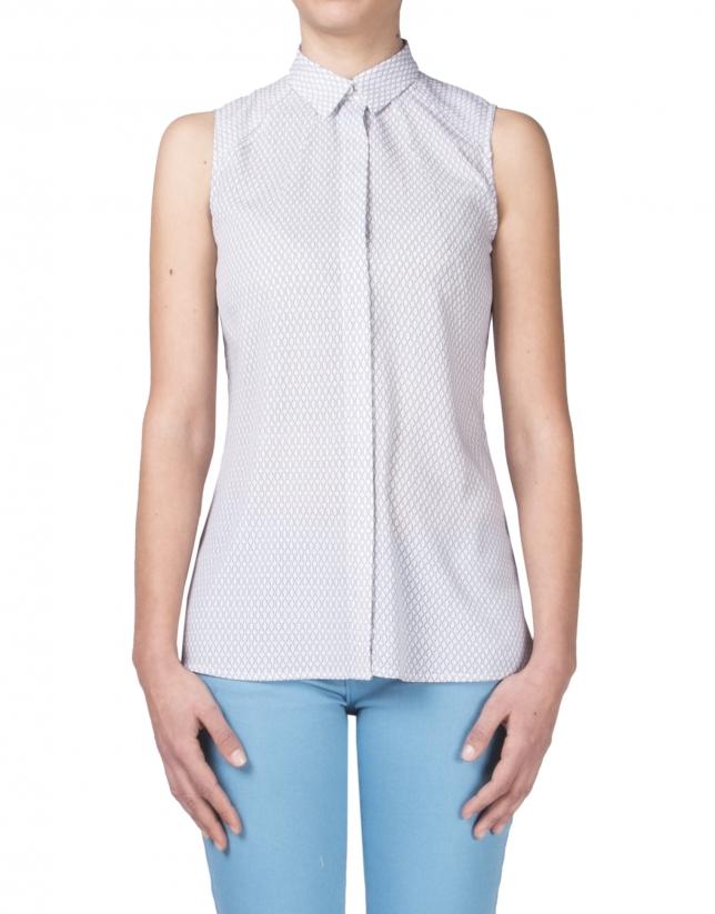 Sleeveless microprint shirt