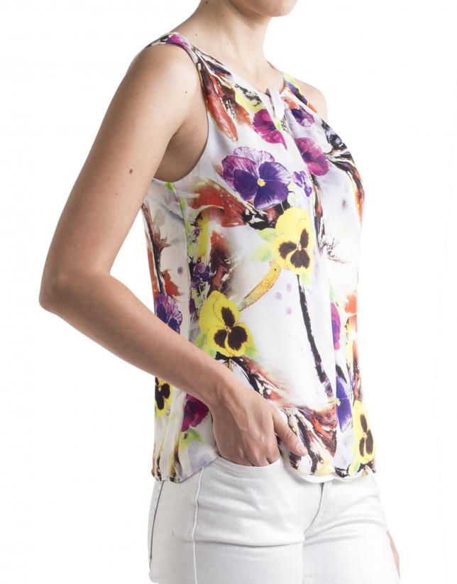 Top imprimé floral avec ruban