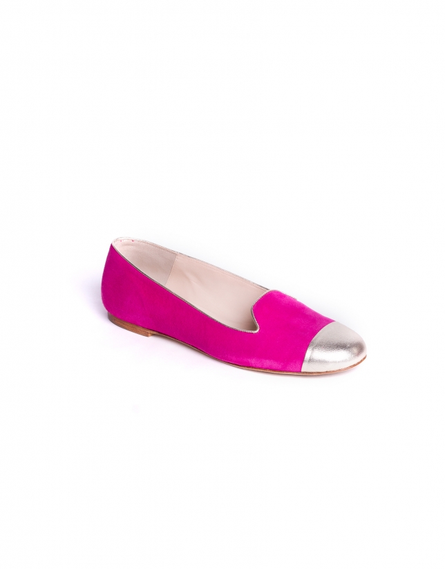 NIZA FUCSIA:  Suede slippers with gold tips