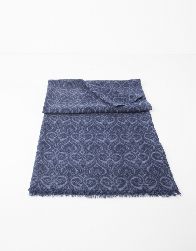 Echarpe bleu marine print imprimée