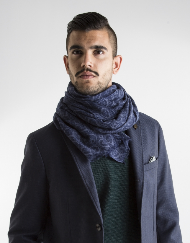 Navy print scarf
