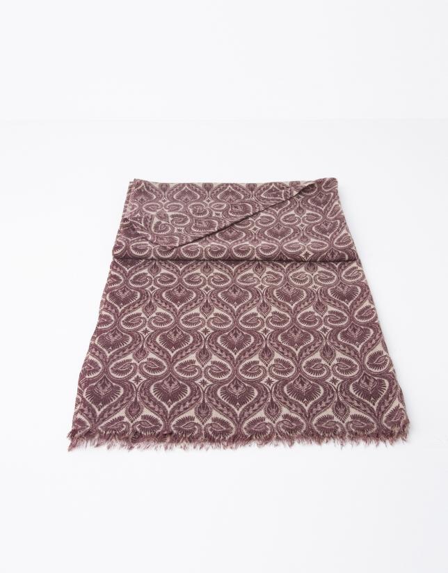 Burgundy blue print scarf