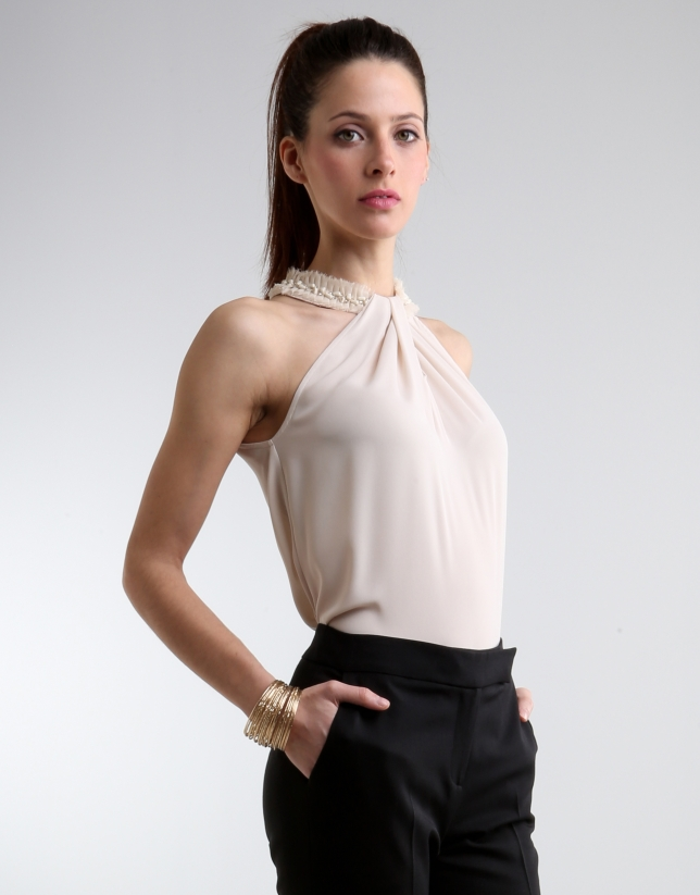 Ivory top with beaded collar