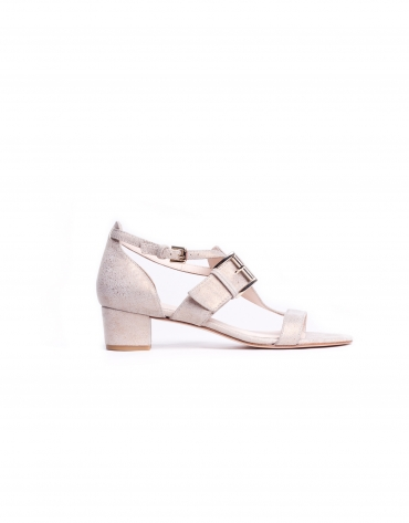 ROMA:  Medium heel, metalized suede sandals