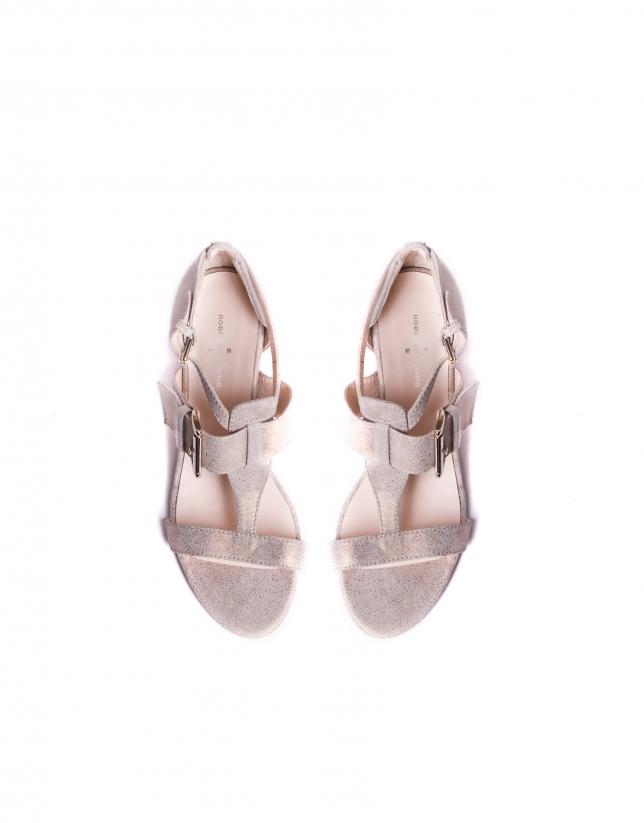 ROMA: Medium heel, metalized suede sandals