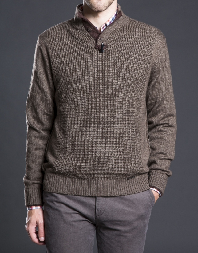 Brown structured turtle neck sweater