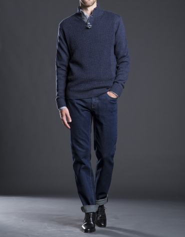 Blue structured turtle neck sweater