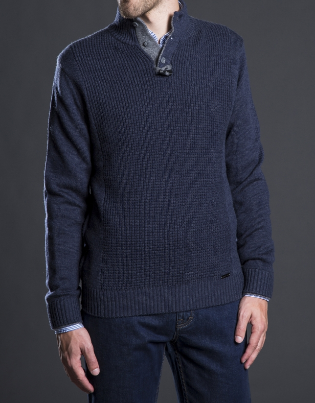 Jersey cuello cisne estructura azul