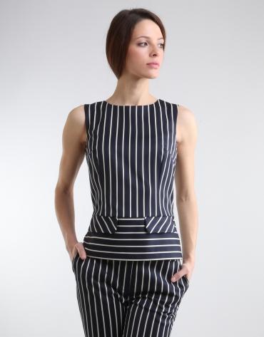 Navy blue /white sailor striped top