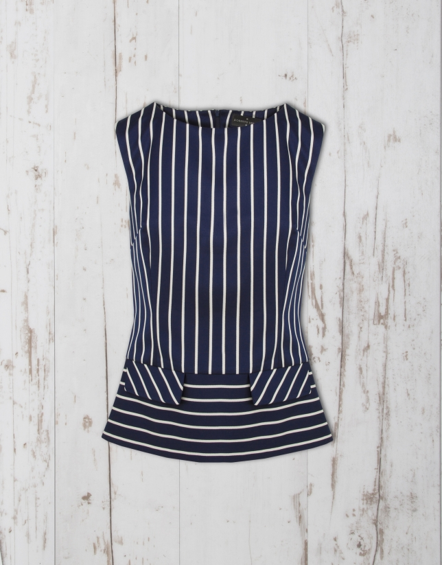 Navy blue /white sailor striped top
