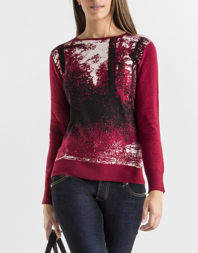 T-shirt rouge à dessin