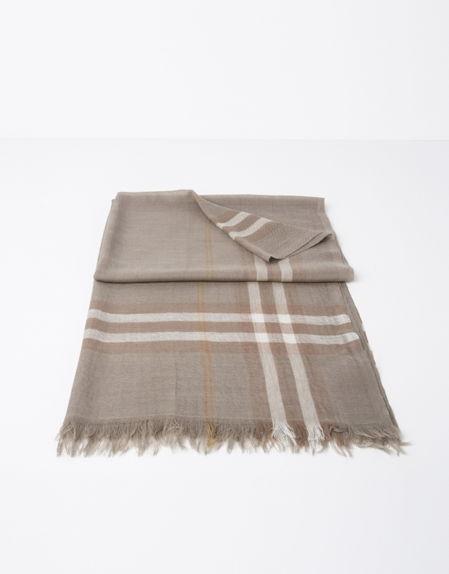 Brown and beige checked scarf