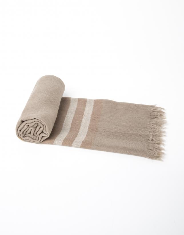 Bufanda cuadros beige/marrón