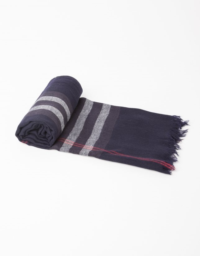 Navy and red checked scarf