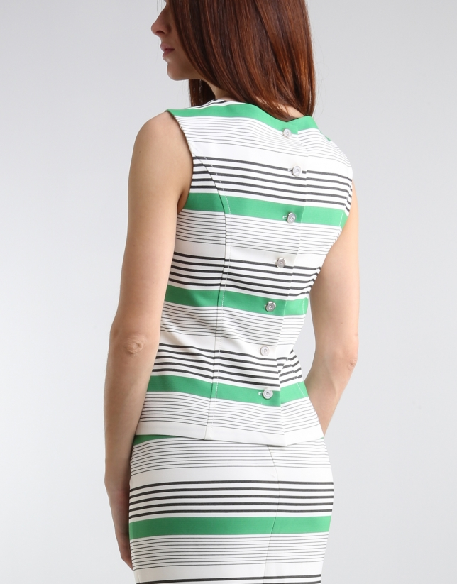 Green striped top with straps