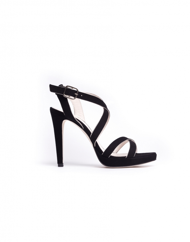 MONACO:  High heel sandals with black and gold strips