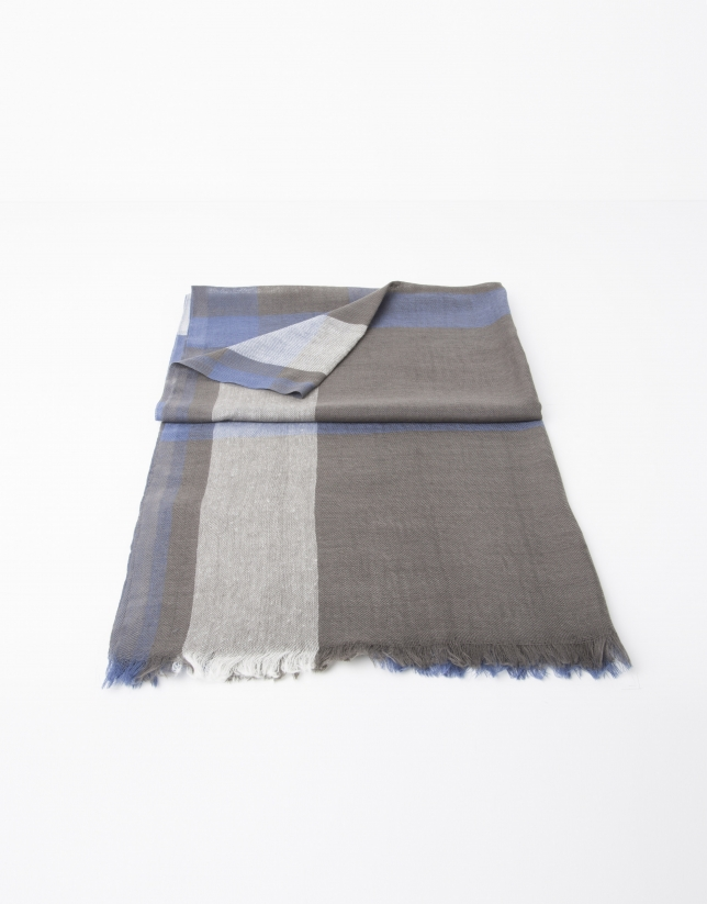 Navy blue and beige multicolor scarf