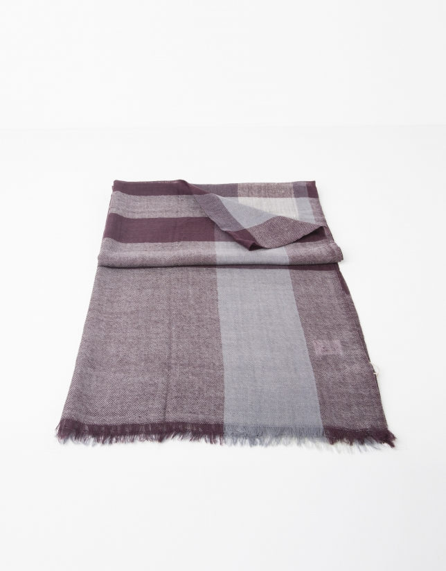 Burgundy and grey multicolor scarf