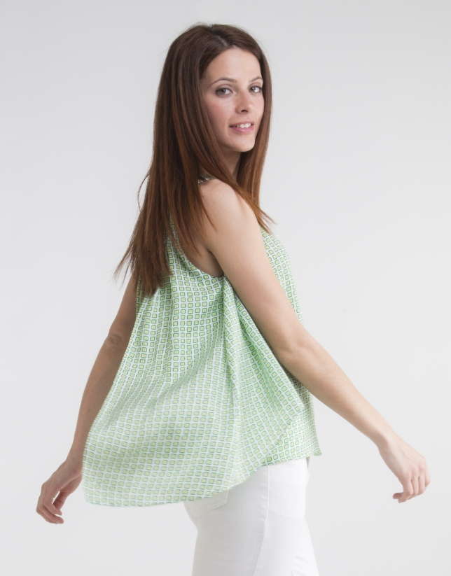 Loose green print top