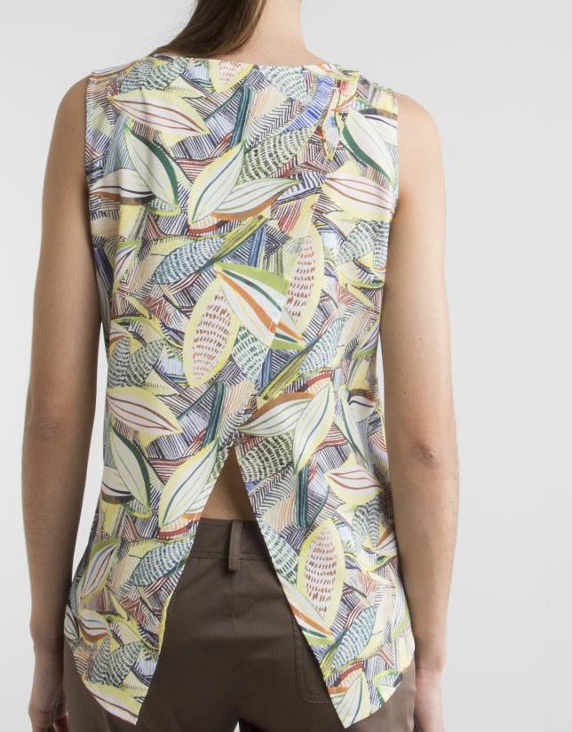 Top à motif floral et plis