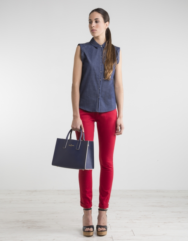 Sleeveless navy blue shirt