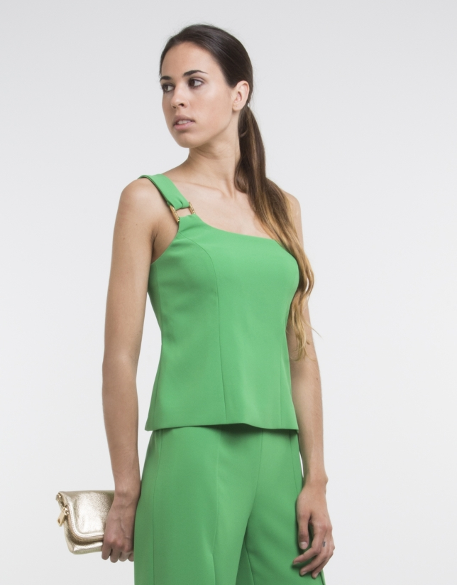 Green top with asymmetric neckline