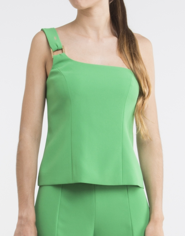 Top vert, encolure asymétrique