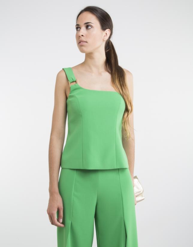Green top with asymmetric neckline