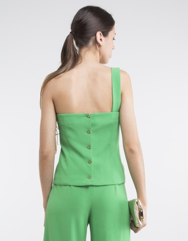 Top escote asimétrico verde