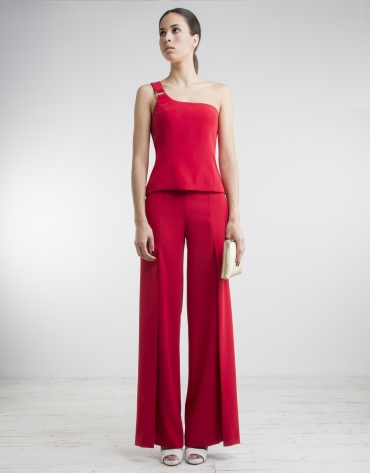 Red top with asymmetric neckline