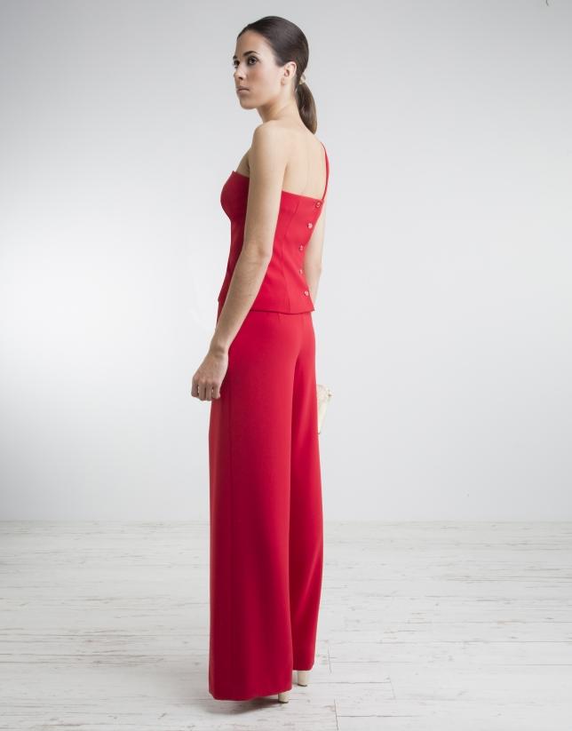465d1da7c0 Top escote asimétrico rojo - Mujer