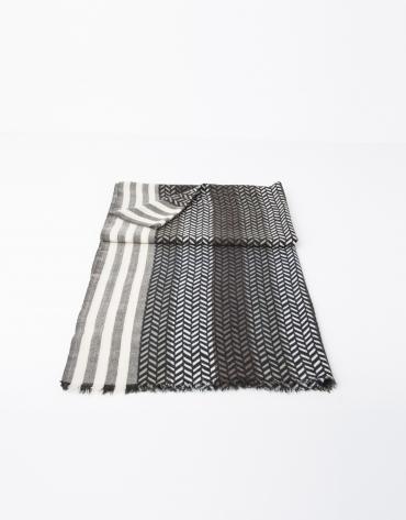 Grey and beige herringbone scarf