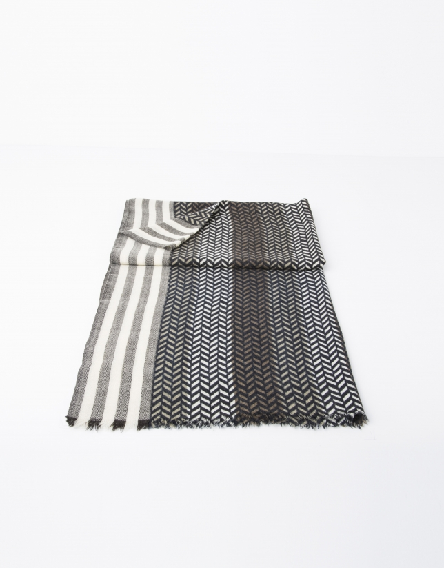 Bufanda espiga gris/beige