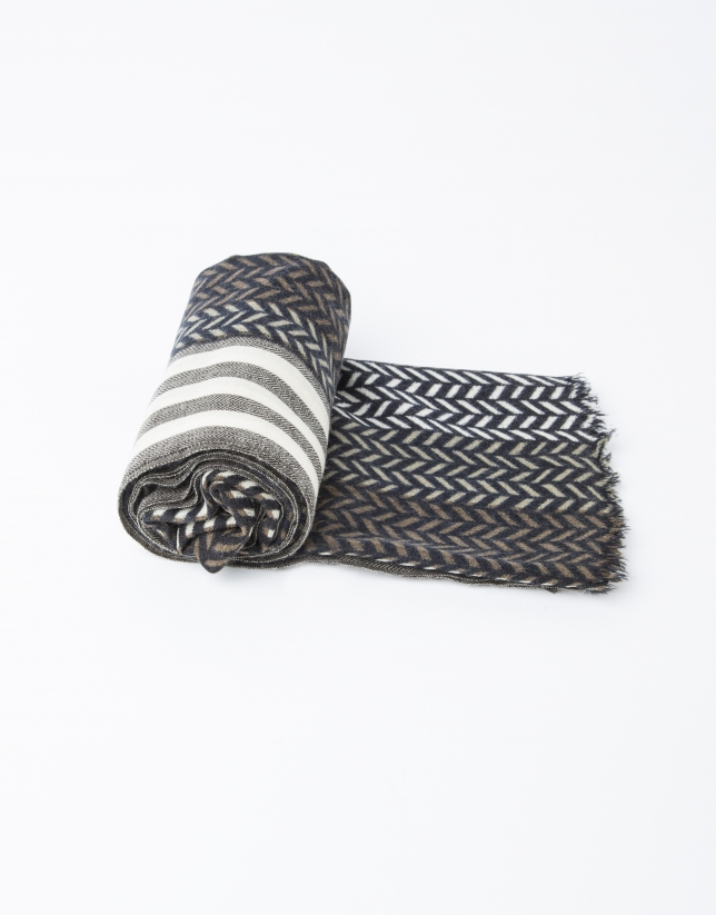 Echarpe à chevrons gris/beige