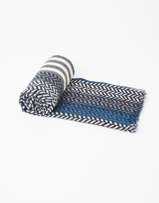 Grey and blue herringbone scarf