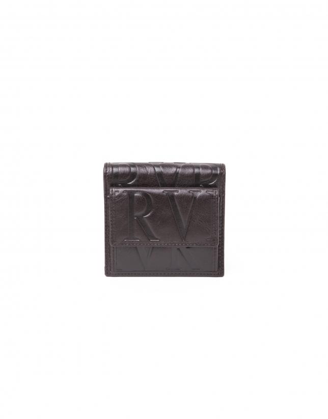 Portefeuille avec bourse en cuir brun