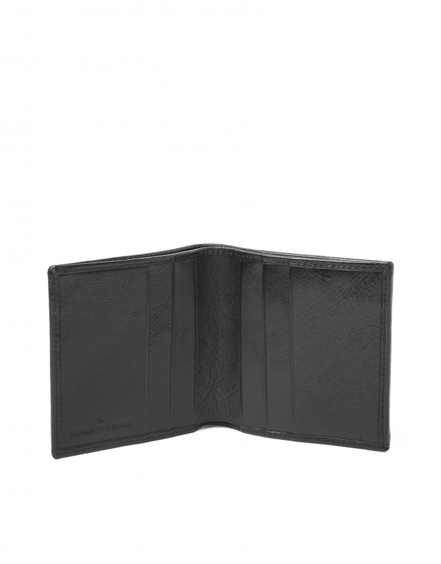 Black leather wallet with change purse