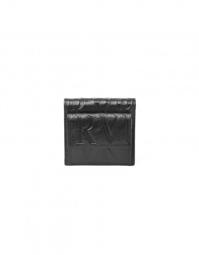 Billetera con monedero exterior negra piel grabada RV