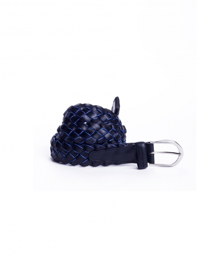 Navy braided belt