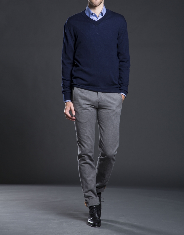 Basic navy blue knit sweater - Roberto Verino
