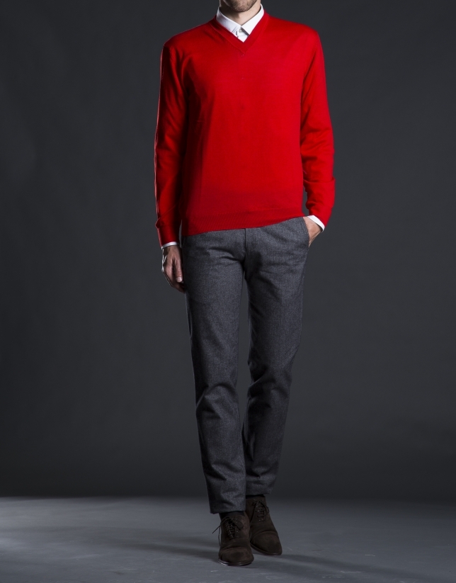 Basic red knit sweater