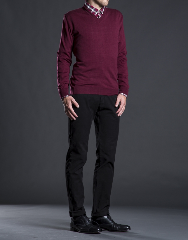 Basic burgundy knit sweater
